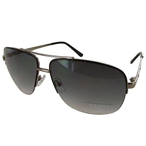 Guess Mens GU6745 Rectangular Half Rim Aviator Fashion Sunglasses, Gunmetal (Sunglasses For Men By Guess)