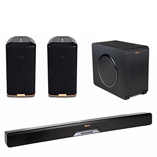 Klipsch RSB-11 Reference Sound Bar with Wireless Subwoofer with RW-1 Wireless Speakers - Pair (Black) by Klipsch
