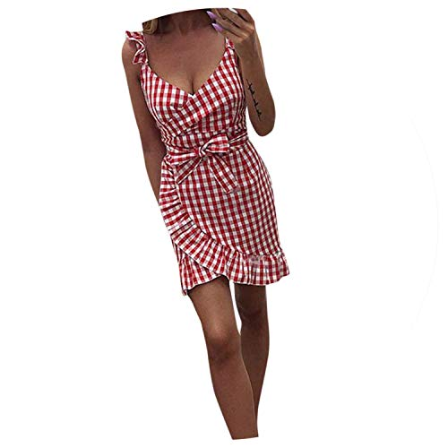 - Ladies Plaid Cherry Ruffled Halter Bow V-Neck Straight Above Knee Mini Dresses Women Dress,RD,XL