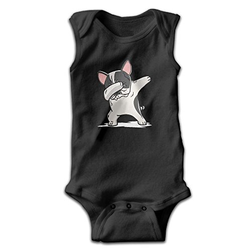Pied Bulldog French (Rreaaeen Funny Dabbing Pied French Bulldog Dog Cute Infant Baby Girl Jumpsuit Sleeveless Toddler Climb Crawling Kids Clothes 6 M)