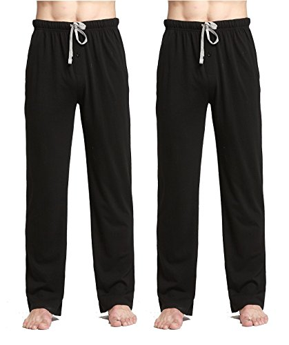 CYZ Comfortable Jersey Cotton Knit Pajama Lounge Sleep Pants-Black2PK-XL