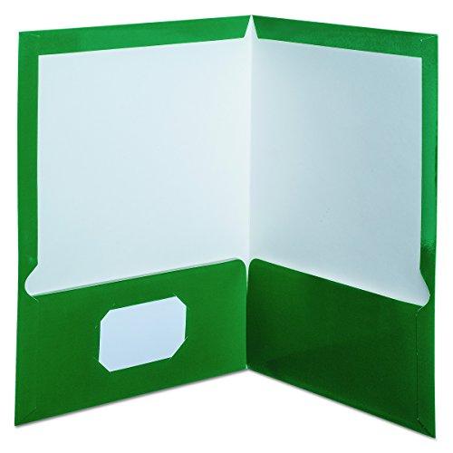 Oxford Showfolio Laminated Twin Pocket Folders, Letter Size, Green, 25 per Box (51717)