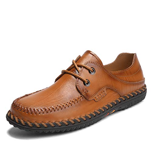 AIMENGA Herren Freizeitschuhe Herren Freizeitschuhe Herbst Reihe Von Füßen Pu Niedrig, Um Nähgarn Mode Herren Schuhe Zu Helfen Brown