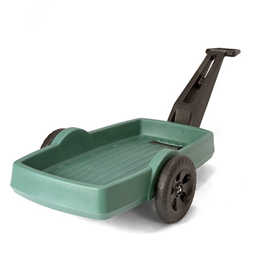 (Simplay3 Easy Haul Flatbed Cart - Heavy Duty Plastic 2 Wheel Yard Garden Wagon, 42 in. x 20 in. Bed, Green)