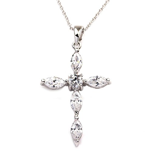 FC JORY White Gold Plated Jesus Cross Marquise Crystal CZ Round Chain Women Girl Pendant Necklace (Crystal Cross Necklace)