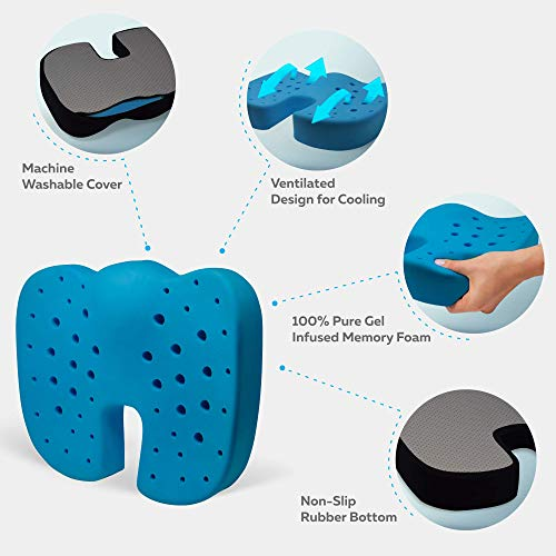 100% Memory Foam Seat Cushion, Gel Infused & Ventilated, Orthopedic Design to Relieve Back, Sciatica, Coccyx and Tailbone Pain - Perfect for Your Office Desk Chair by Everlasting Comfort by Everlasting Comfort (Image #1)