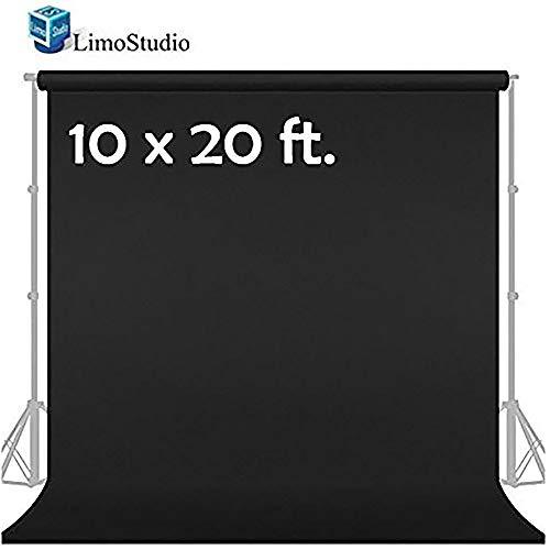 LimoStudio 10' x 20' Photo Video Studio Seamless Solid Black Muslin Backdrop Photo Studio Background, AGG1601 ()