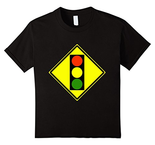 Kids Traffic Light Ahead Sign Simple Halloween Costume T-Shirt 4 Black - Simple Halloween Costumes For School