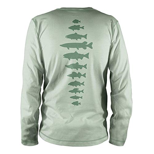 RepYourWater Freshwater Fish Spine Performance Long Sleeve Tee Large Light Sage ()