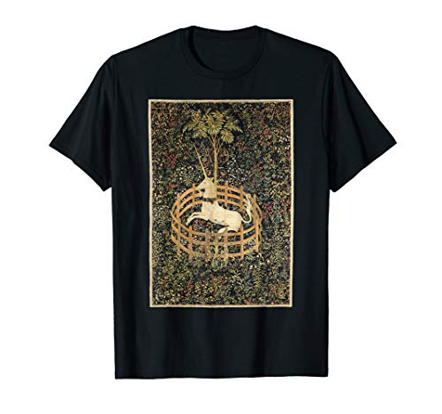 Vintage Unicorn In Captivity Medieval Tapestry T-Shirt