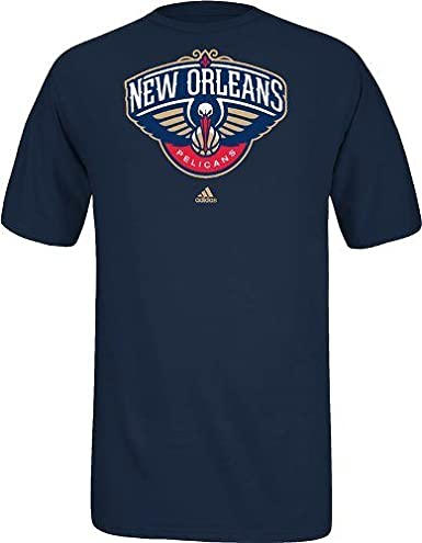 New Orleans Pelicans Adidas Nba Full Primary Logo T Shirt Navy