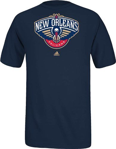 New Orleans Pelicans Full Primary Logo T-Shirt - Navy Blue - T-shirt Primary Logo New