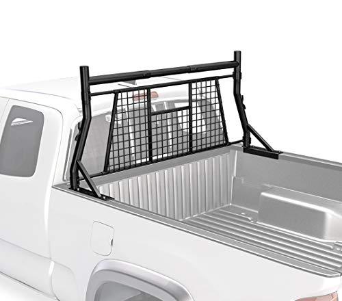 AA-Rack Model X35-A-W Adjustable Headache Rack Single Bar Extendable Pick-up Truck Rack with Protective Screen Set (Black)