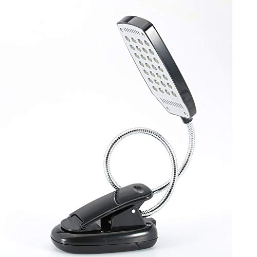 28 LED Book Light, Clip on Reading Light, Flexible Book Reading Lamp, Battery Power Eye Protection for Reading in Bed (Black)