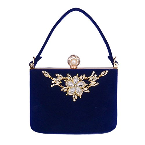 Day of Saturn Jefas Bolsa De Noche Con Una Flor De Diamentes Exquisitos Boquilla Con Una Perla Atractiva Para Cena,Azul Azul