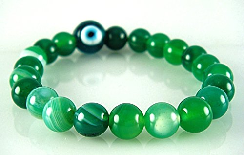Natural Green Agate Gemstone Heart Chakra Love Compassion Healing 8mm Beads with Evil Eye Talisman Stretch Bracelet 6.8""