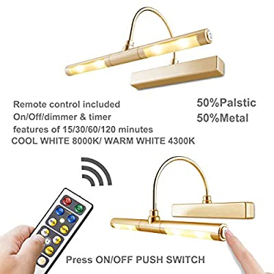 LUXSWAY Picture Light Wireless Battery Operated Remote Control Lights Heads Rotatable 180 Degree Auto Off Time Preset Dimmable LED Lighting for Artwork/Pictures/Diplomas-Gold