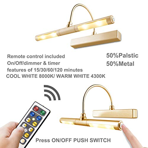 LUXSWAY Picture Light Wireless Battery Operated Remote Control Lights Heads Rotatable 180 Degree Auto Off Time Preset Dimmable LED Lighting for Artwork/Pictures/Diplomas-Gold by LUXSWAY (Image #1)