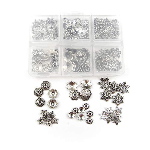 ALL in ONE 230pcs 6 Styles Antique Silver Tibetan Style Flower Cup Beads/spacer Beads Charms Jewelry Findings