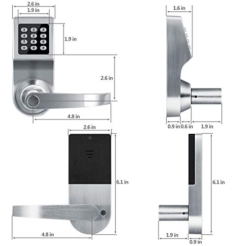 Smart Door Lock,XINDA Electronic Door Lock Featuring SmartCode and Adjustable Hand,Digital Lock Including Remote Control,Card and Metal Key.Perfect for Office,Home,Hotel and Apartment(Satin Nickel) by XINDA (Image #4)