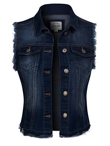 Design by Olivia Women's Frayed Hem Casual Hi-Low Pocket Denim Vest Dark Denim 1XL