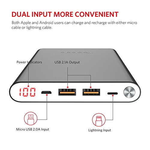 Power Bank 20000mAh, Yoobao High Capacity Powerbank External Battery Pack Cell Phone Charger Battery Backup (Micro & Lightning Input) Compatible iPhone iPad Samsung Galaxy More - Gray by Yoobao (Image #2)