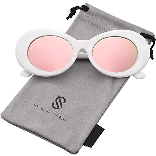 SOJOS Clout Goggles Oval Mod Retro Vintage Kurt Cobain Inspired Sunglasses Round Lens SJ2039 with White Frame/Pink Mirrored Lens