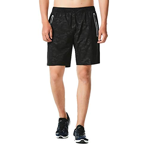 Simayixx Trunks for Men Men's Running Shorts Reflective Quick Dry Shorts with Zipper Pockets Beach Surfing Swimming Pants Black