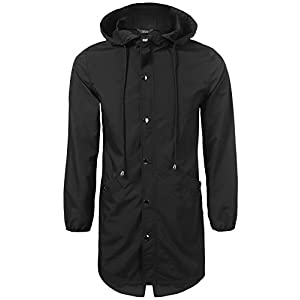 COOFANDY Unisex Long Waterproof Raincoat,Adult Button up Hooded Rain Jacket for Men and Women