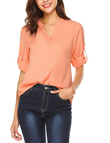 Hersife Womens Notched Collar Chiffon Blouses Solid Tunic Tops Casual Shirts,Peach,Small