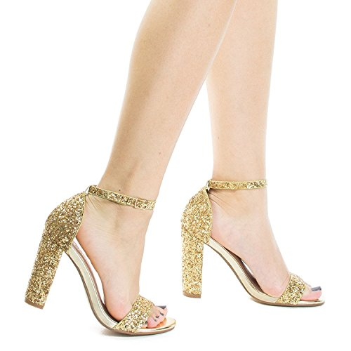 OLIVIA Heel Wedding Party Women's Strappy Gold Chunky Pump High Block K Glitter Classic Simple Formal cpYpqawr