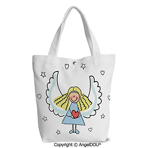 (Women Canvas Tote Eco Reusable Bag Casual Bags Cute Little Girl with Wings Red H)