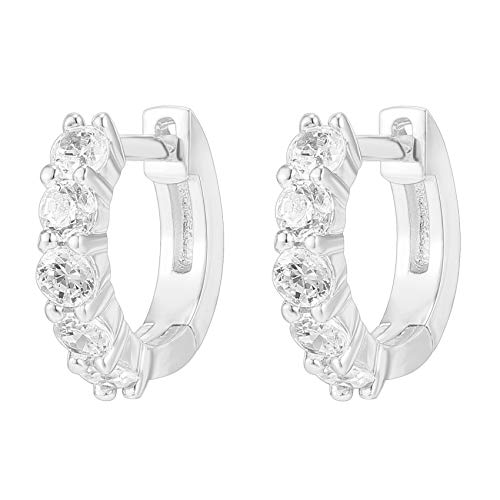 PAVOI 14K Gold Plated Sterling Silver Post 2.5mm Wide Cubic Zirconia Cuff Earrings Huggie Stud