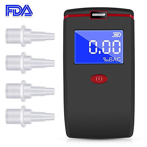 Oasser Breathalyzer Alcohol Tester Professional Breathalyzer Digital LCD Breath Tester Semi-conductor Sensor with 4 Mouthpieces and 3 AAA Batteries