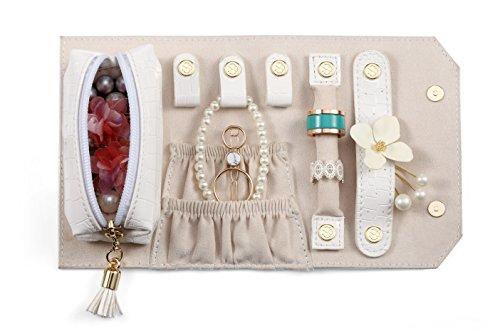 Vlando Rollie Portable Jewelry Roll, lipstick/Daily Jewelries Storage Case- (White) by Vlando (Image #1)