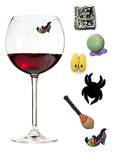 Halloween Wine Charms - Magnetic Drink Markers That Will Delight Your Guests and Keep Their Glasses Unique - Set of 6 by Simply Charmed ()