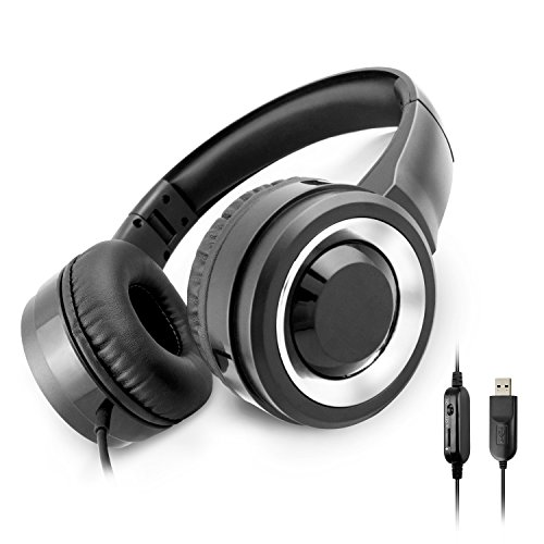 Usb Portable Headset - PC Headset, J-EARLE Multi-Use USB Gaming Headset with Microphone, Lightweight Wired Foldable Portable Over Ear Headphone with Stereo Bass & Volume Adjuster for Computer, Mac, Laptop (Black)