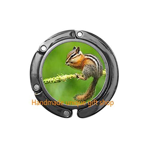 (Charm Purse Hook, Dainty Purse Hook,Chipmunk Purse Hook - Eastern Chipmunk Jewelry Bag Hook, Forest Animal Jewelry, Nature Purse Hook, Woodland Animal Purse Hook, Nature Jewelry Gi (C))