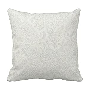 White, Silver, Damask, Cotton Throw Pillow Cover For Living Room, Sofa, Etc