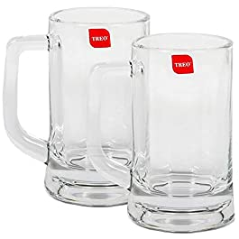 Treo By Milton Munich Cool Beer Mug Set, 359ml, Set of 2, Transparent