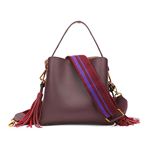 Mn&Sue Retro Tribe Women Cross-body Shoulder Handbag Fringe Tassels Bucket Hobo Bag Purse ()