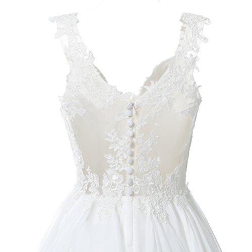 9b3660578a76 Home/Bride Dresses/Kevins Bridal Lace V Neck Wedding Dress Illusion Chiffon  Beach Wedding Gown Straps Ivory Size 8. ; 