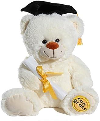 11 G7114-11 cream Calplush Fuzzy Cream White Graduation Congrats Bear Plush