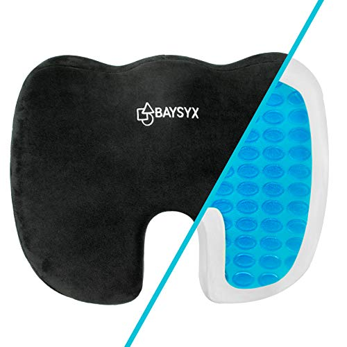 Baysyx - Premium Gel Seat Cushion | Low Back Pain Relief & Coccyx Tailbone Chair Pad | Non-Slip Bottom & Easy to Travel with | Perfect Cushion for Office Chairs, Desks, Cars & More