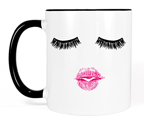 Most Toasty Lashes and Pink Lipstick Ceramic Coffee Mug Makeup Gift for Her, 11 Ounce, Black and White Lipstick Eyelash Makeup