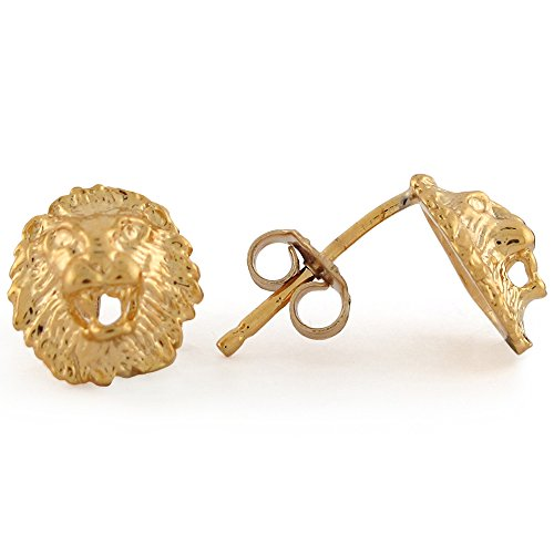 14k Yellow Gold 0.9cm King Lion Head Post Stud Earrings 14k Zodiac Earrings