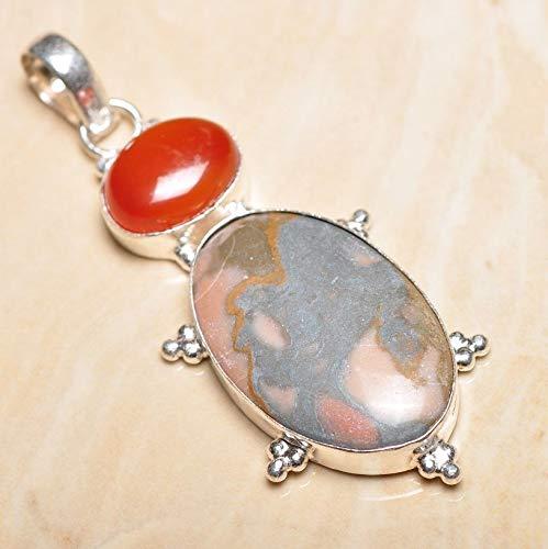 Ocean Jasper Pendant - Handmade Natural Ocean Jasper Gemstone 925 Sterling Silver Pendant 3#KS-8055