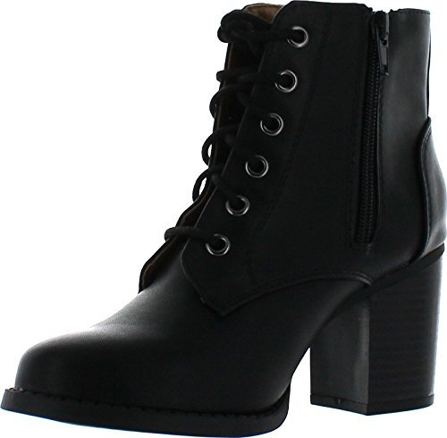 Soda Women's Korman Faux Leather Lace Up High Chunky Heel Ankle Booties, Black, 7.5 M (Black Leather Lace Up Boots)