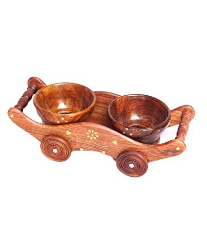 - Wooden Serving Bowl with Trolley 2pcs Set Bowl Makes a Great Christmas, Birthday Gift, Home and Kitchen Dry Fruit Trolley with 2- Bowl Set