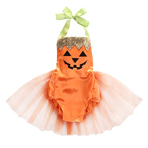 Baby Girl Costume Newborn Pumpkin Tutu Bodysuit Dress (0-6 Months)